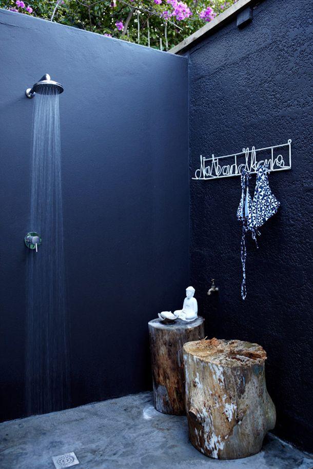Nothing beats an outdoor shower but an indigo shower kicks it up a notch! Image Camille Styles
