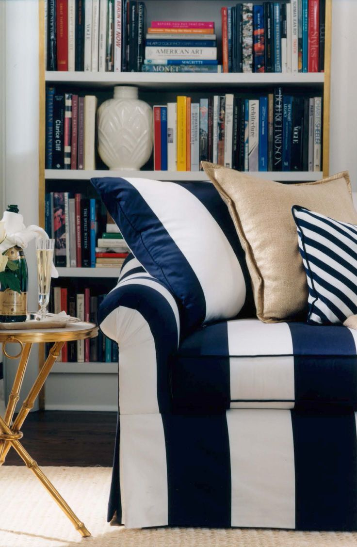 Indigo stripes and bold and timeless. Image via Ralph Lauren Home