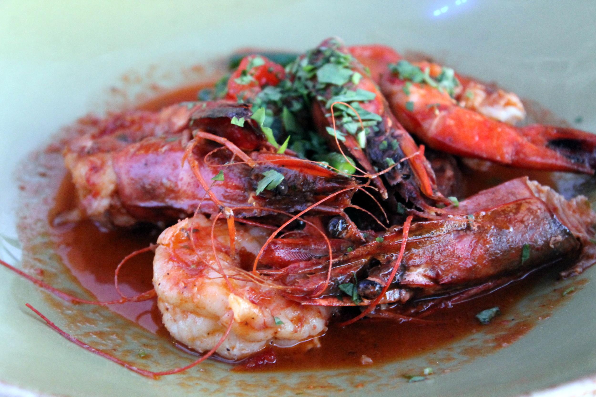 Jumbo Shrimp over spicy grits.Paloma, Stamford CT. Image via Jessica Moseley Gordon