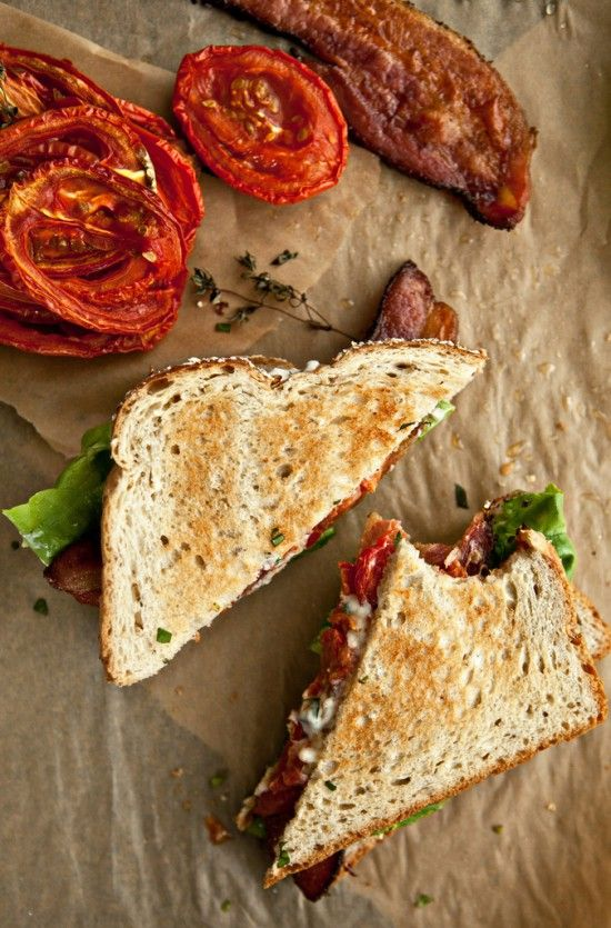 Not without Salt shows us how to makethese wonderful slow roasted tomato BLTs for a more intense flavor.