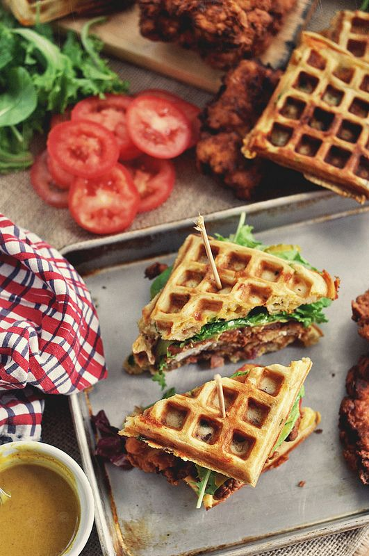 Bon Appetit  has a chicken waffle sandwich. Perfected. I've always been intrigued by this Southern bite. Chicken, waffles, bacon, cheese and green onions. Sounds like a winner to me!