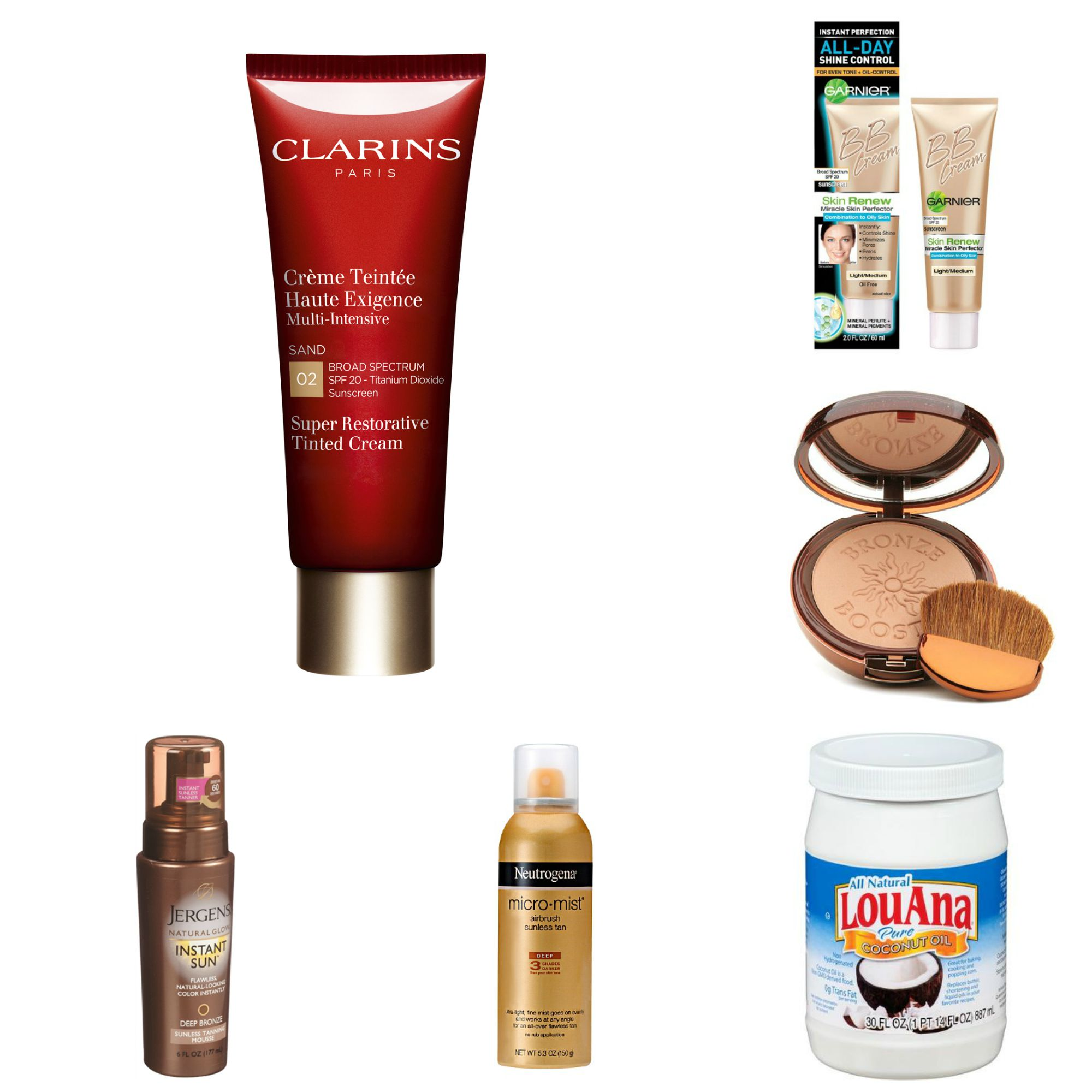 How to get that sun-kissed goddess look without stepping out into the sun.Images from upper left to bottom right: Clarins teint gel,  Garnier bb creme ,  Rimmel bronzer , J ergens foam instant tan ,  Neutrogena Micro-mist  self tanner,  LouAna coconut oil.