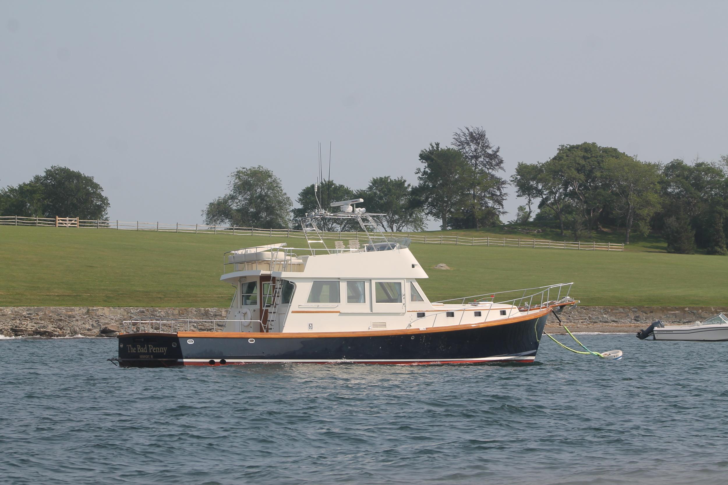 Boat anchored atHammersmith Farm