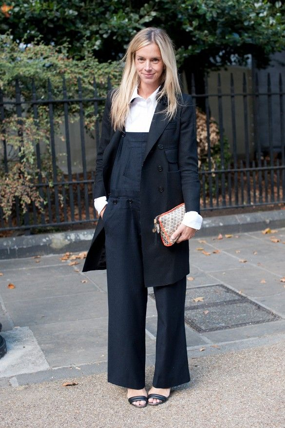 I may go so far as to say these overalls paired with black sandals and a black trench are quite elegant. As seen in  whowhatwear  (How to wear black overalls.)