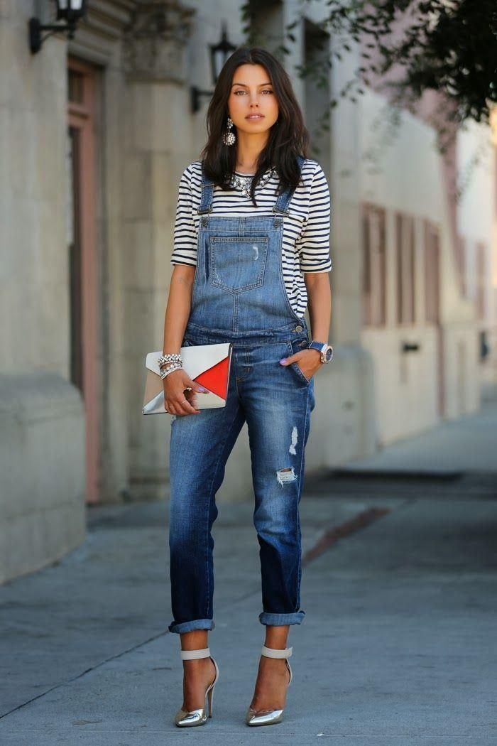 Stylecaster  shows us that some pumps, jewelry and a pretty bag can transform overalls from drab to fab.