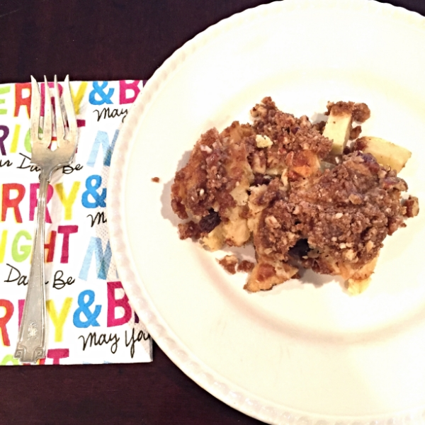 Baked Cinnamon Apple French Toast with Pecan Crumb Topping - The Entertaining House