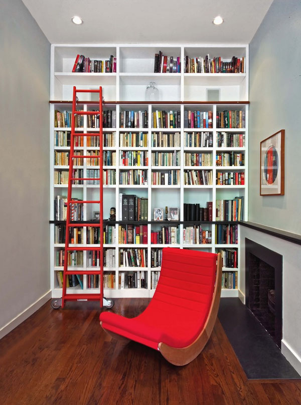 The many uses for the library ladder in the home. Image via Homedit