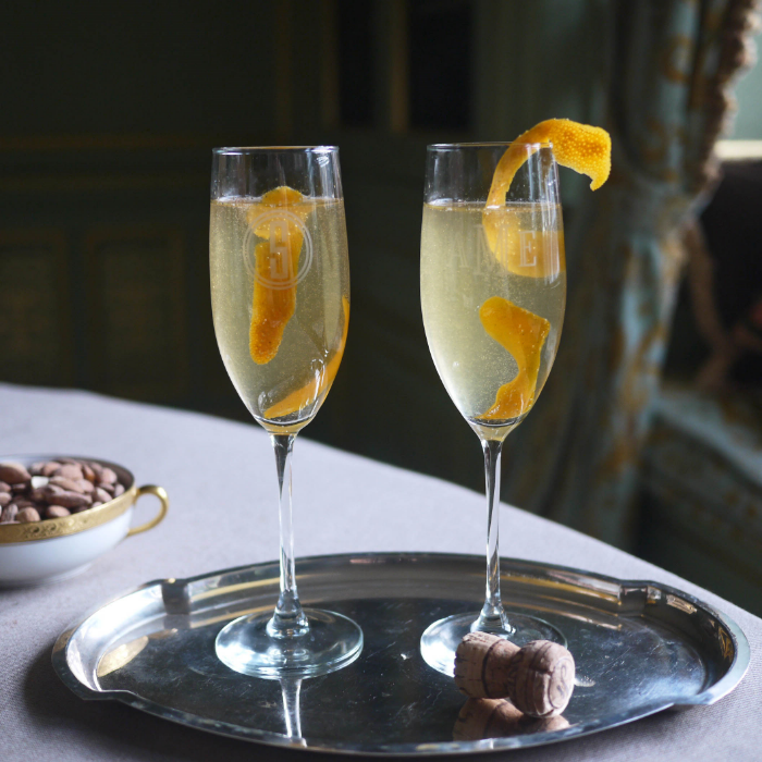 The St. Germain Cocktail via The Entertaining House.  The French 75 via BUGGY DESIGNS