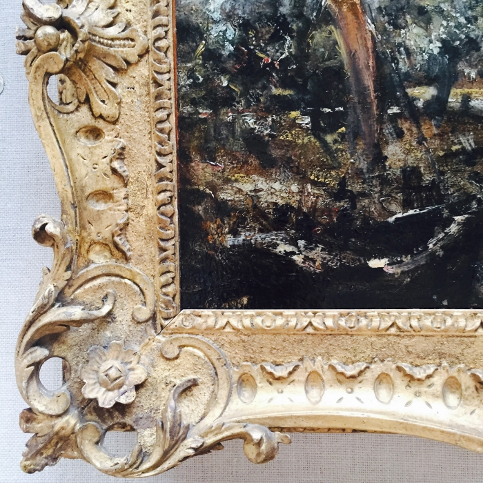 The Yale Museum of British Art. Detail of frame and painting by John Constable.