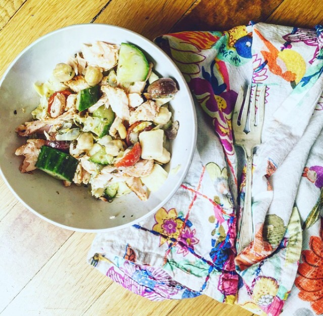 Healthy Bites ::Chopped Greek Salad with Grilled Salmon