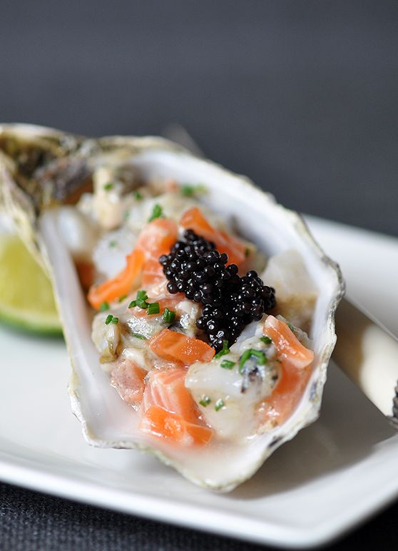 Stylish Bites :: Celebrating National Oyster Day. Image via Jessica Gordon Ryan/The Entertaining House. Image and Recipe from Trissalicious -  Oyster Tartare with Ginger Dressing .
