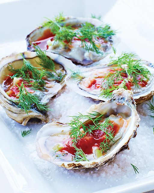 Stylish Bites :: Celebrating National Oyster Day. Image via Jessica Gordon Ryan/The Entertaining House -Dear  Sweet Paul,  a man after my own heart. Bloody Mary Oysters!