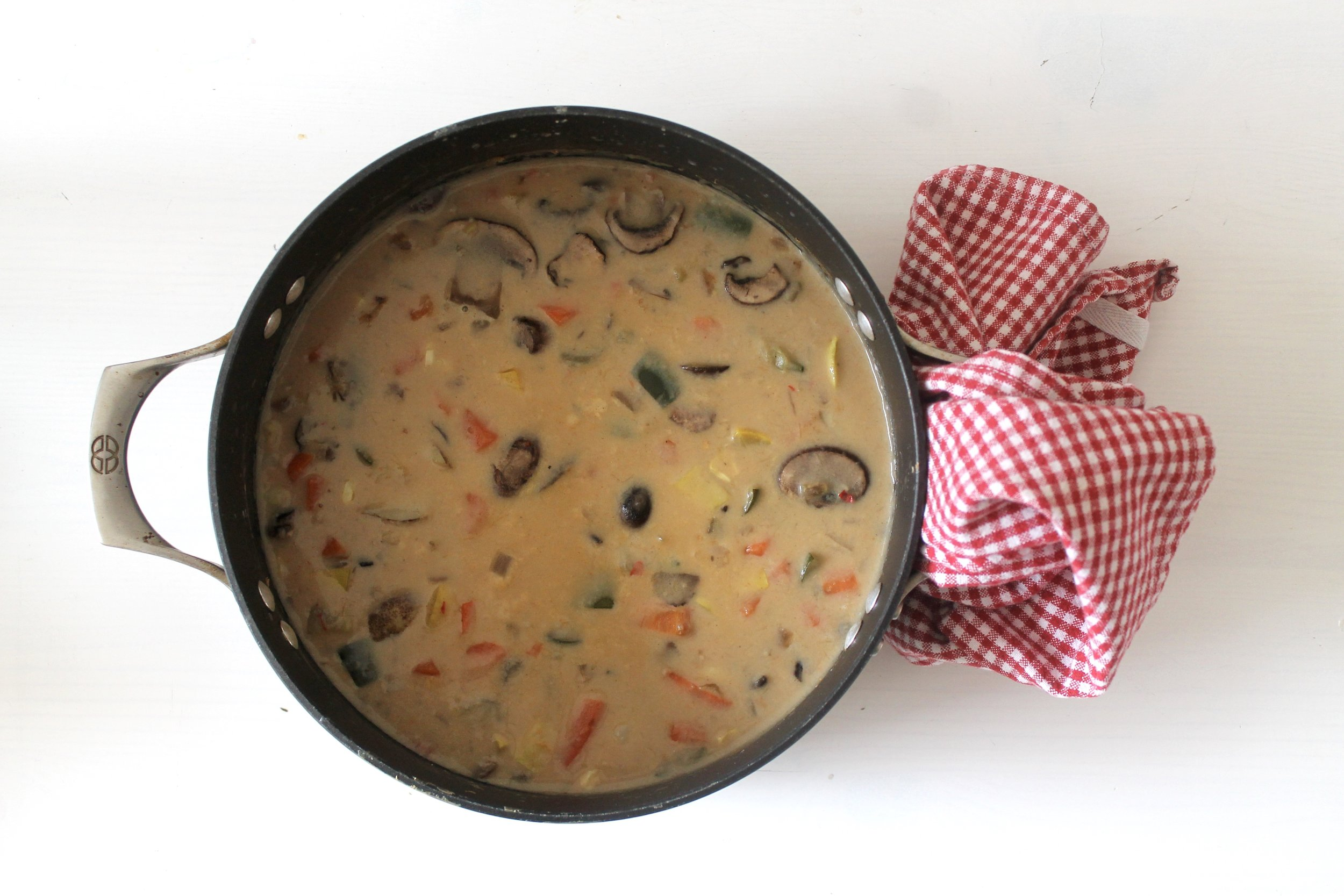 Hygge-inspired Lightened up Creamy Mushroom Vegetable Soup.  mage The Entertaining House