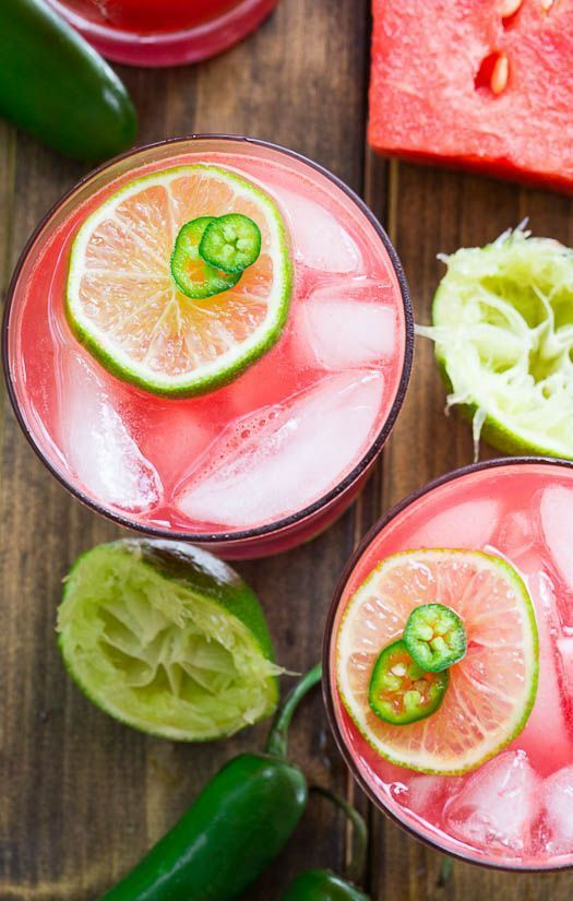 National Margarita Day. Recipes and Roundups. Jalapeno Watermelon Margaritas via Spicy Southern Kitchen
