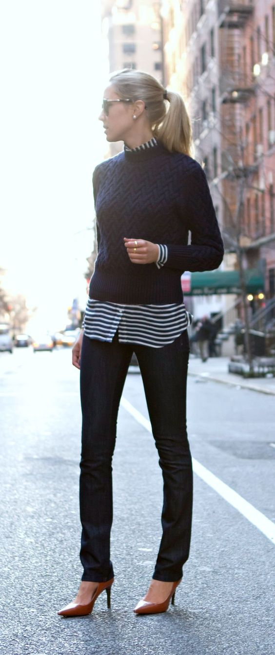 Celebrating the Little Black Sweater. Image via  Polka Dots and Leopard Spots