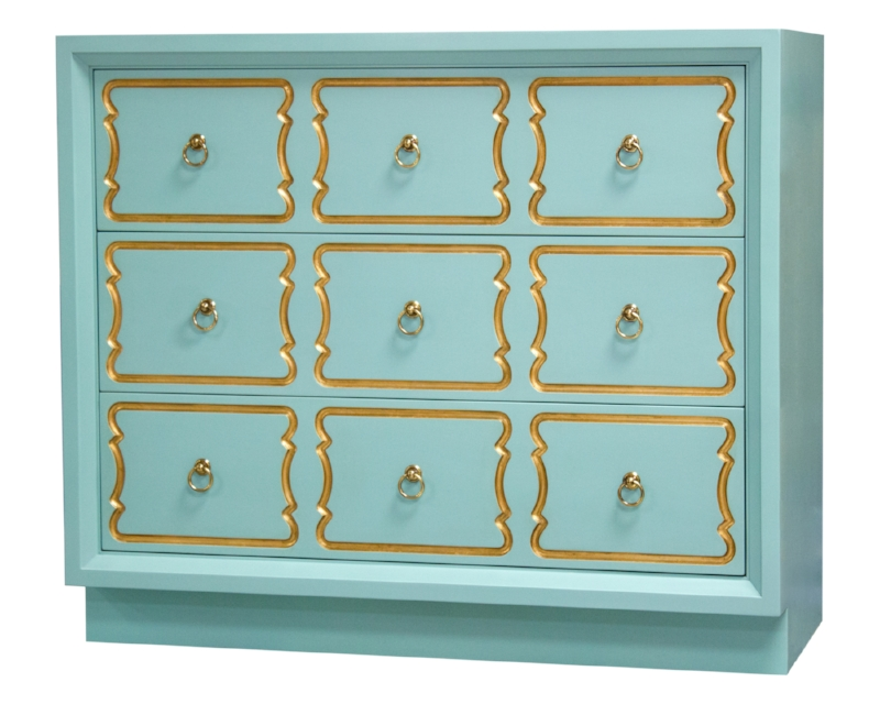 Espagna Bunching Chest, Robins Egg Blue, Gilt. Decorating like Dorothy Draper.