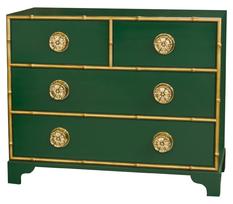 Pinwheel Chest in Brilliance with glazed gold accent. Decorating like Dorothy Draper