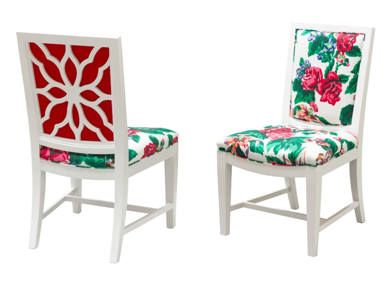 Floral side chairs. Decorating like Dorothy Draper
