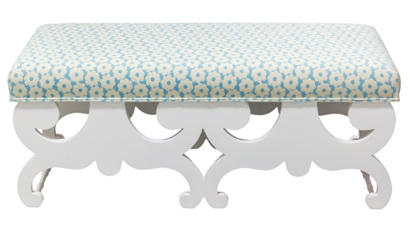 Camilla Double Bench, White Summer Daisy, Aqua. Decorating like Dorothy Draper