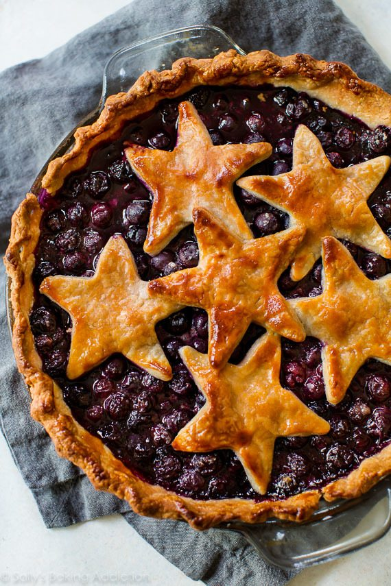 10 Red White + Blue Desserts  Star Spangled Blueberry Pie via Sally's Baking Addiction