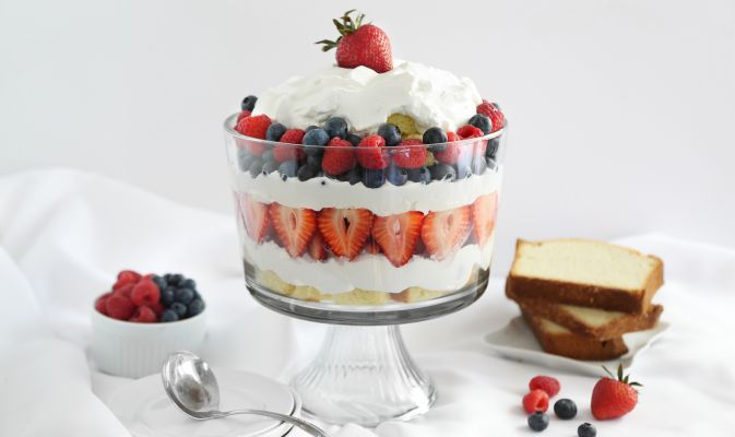 10 Red White + Blue Desserts,  Red White and Blueberry Trifle from Go Bold with Butter