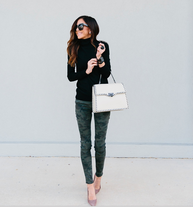 Chic Camo! Sequins and Things shows us another sophisticated style to this print that takes on a preppy-like appearance when paired with a black sweater, pearls and oversized sunnies.