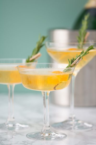 Winter Champagne Cocktail. Image and recipe from Behind the Bar