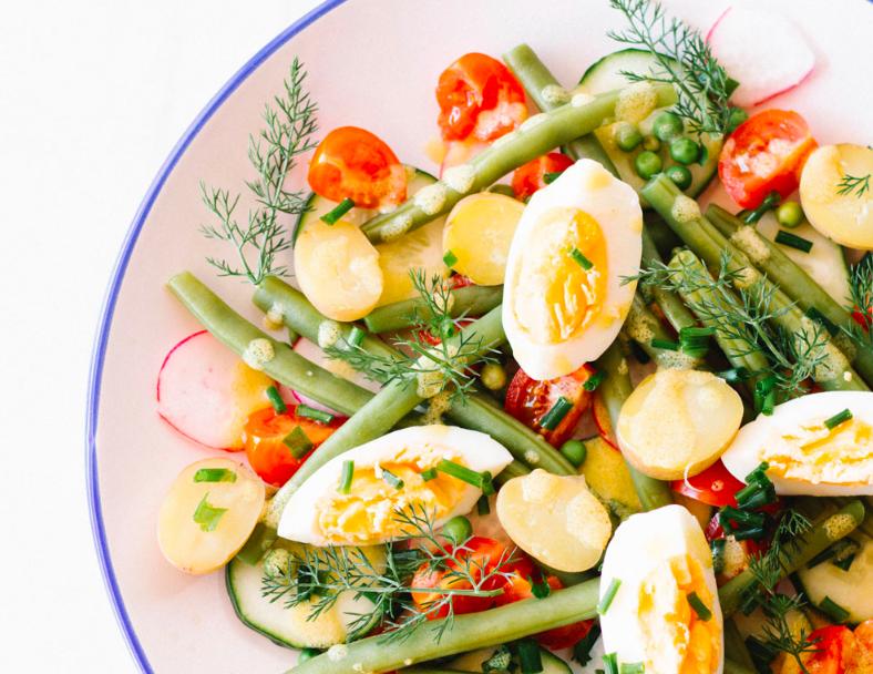 Hard boiled egg and potato salad. Image via Spotebi