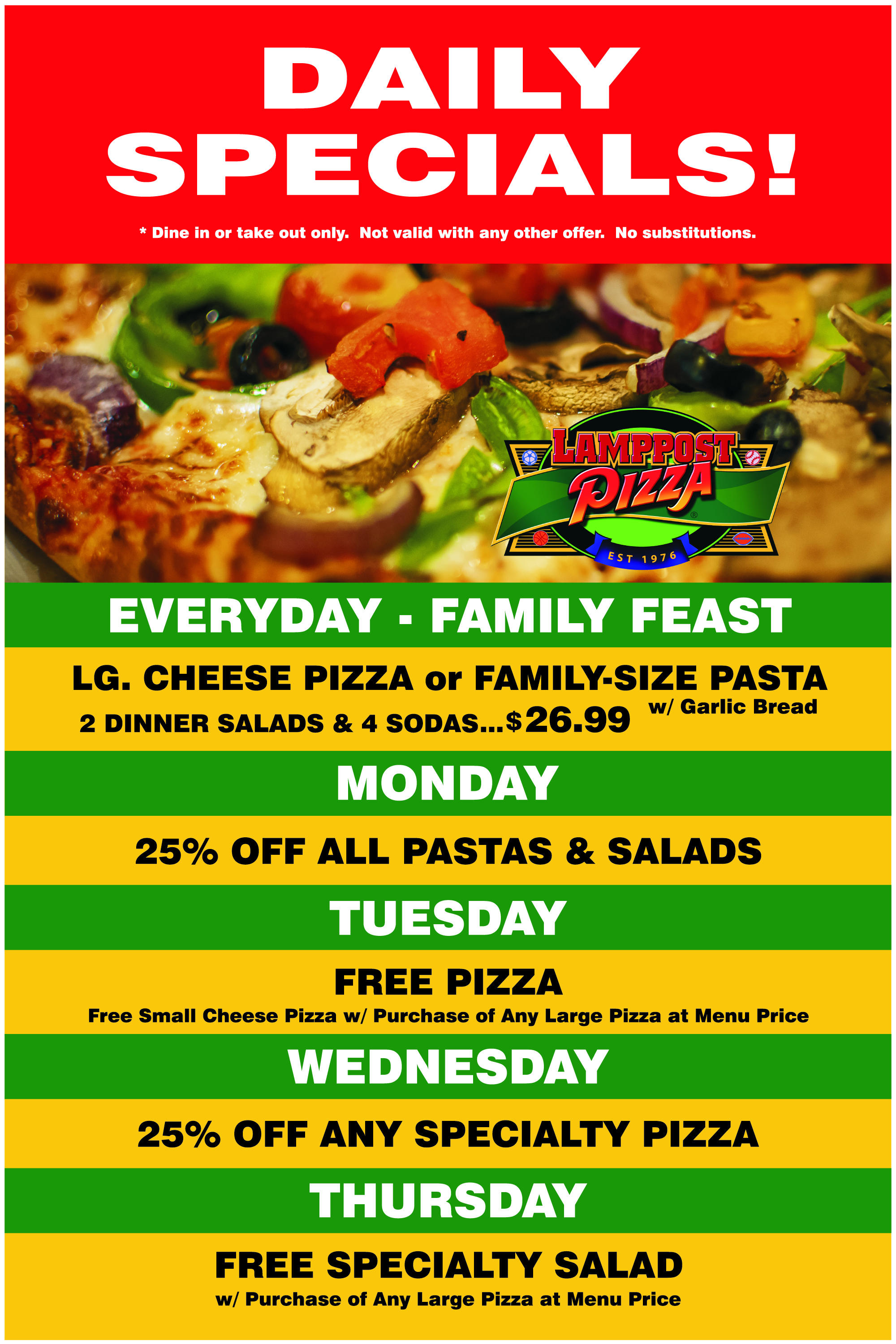 Lamppost Pizza EYL Daily Specials
