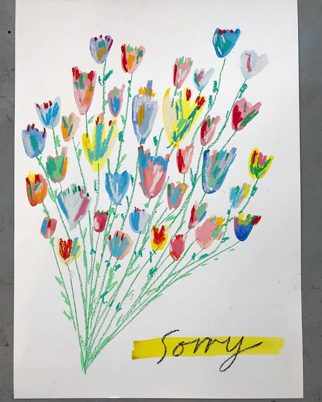 Just in case you wanted to say 'Sorry'  56 x 76 cm oil pastel, pastel & watercolour. #drawing #newartwork #pastel #oilpastel #watercolor #flowers #contemporaryart