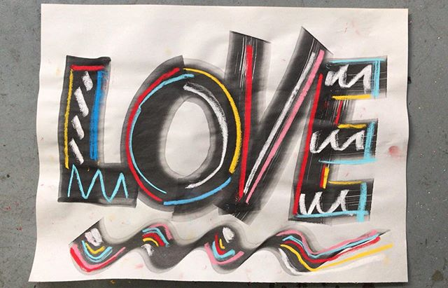 It's Friday I'm in ... LOVE 56 x 76 cm ink and pastel on newsprint. #ink #molotowmarkers #pastel #newsprint #handlettering  #newartwork #contemporaryart #thecure