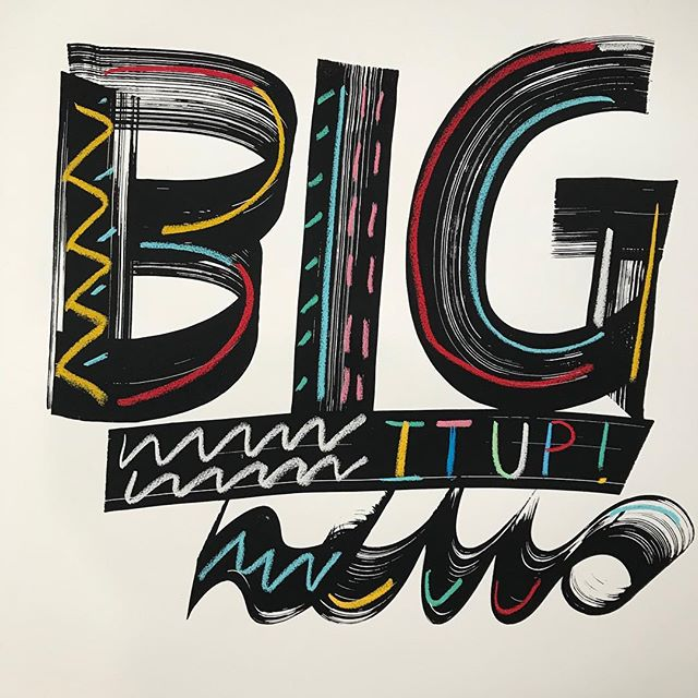 """👀 New print! """"Big it up"""" 56 * 76 cm screen print & pastel on paper.  Fresh and on the wall for @absorb_arts Xmas Show!🎄 #screenprint #molotowmarkers #handlettering #pastel #colour #newartwork #artonpaper #oneofakind  #contemporaryart"""