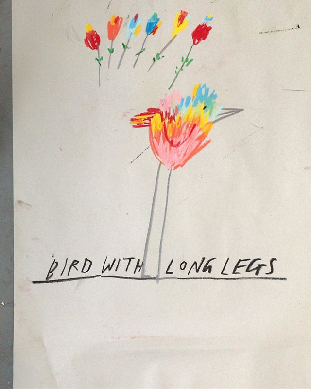 """Bird with long legs"" pastel on newsprint. #birdwatching #drawing #pastel #handlettering"
