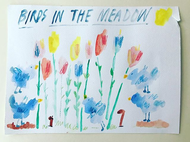 'Birds in the meadow' 180 x 240mm Watercolour and pastel on 300gsm paper. #birdwatching #wildflowers #pastel #watercolours #handlettering #art