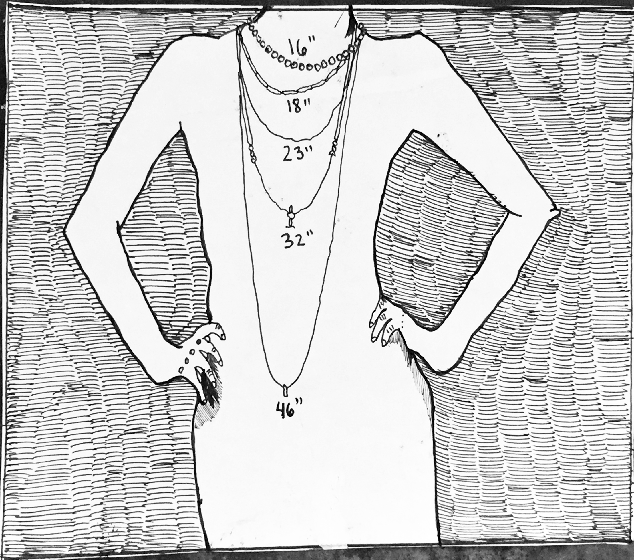NECKLACE LENGTH EXAMPLES ~ Drawing by BIANCA STONE