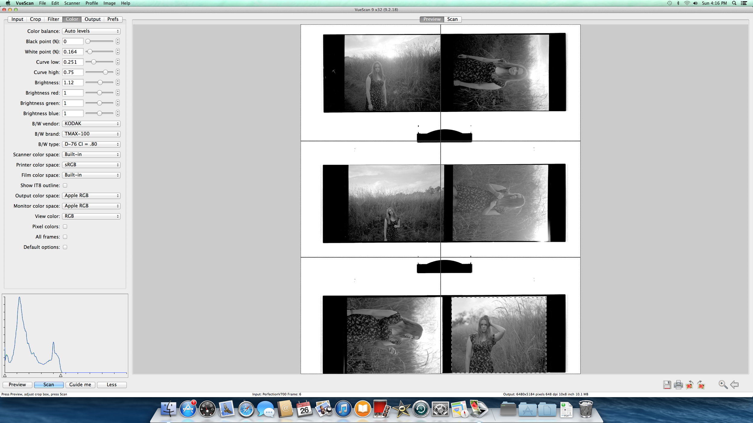 Scanning in the film from a shoot with Bailey a few weeks back; I use Vuescan as the software