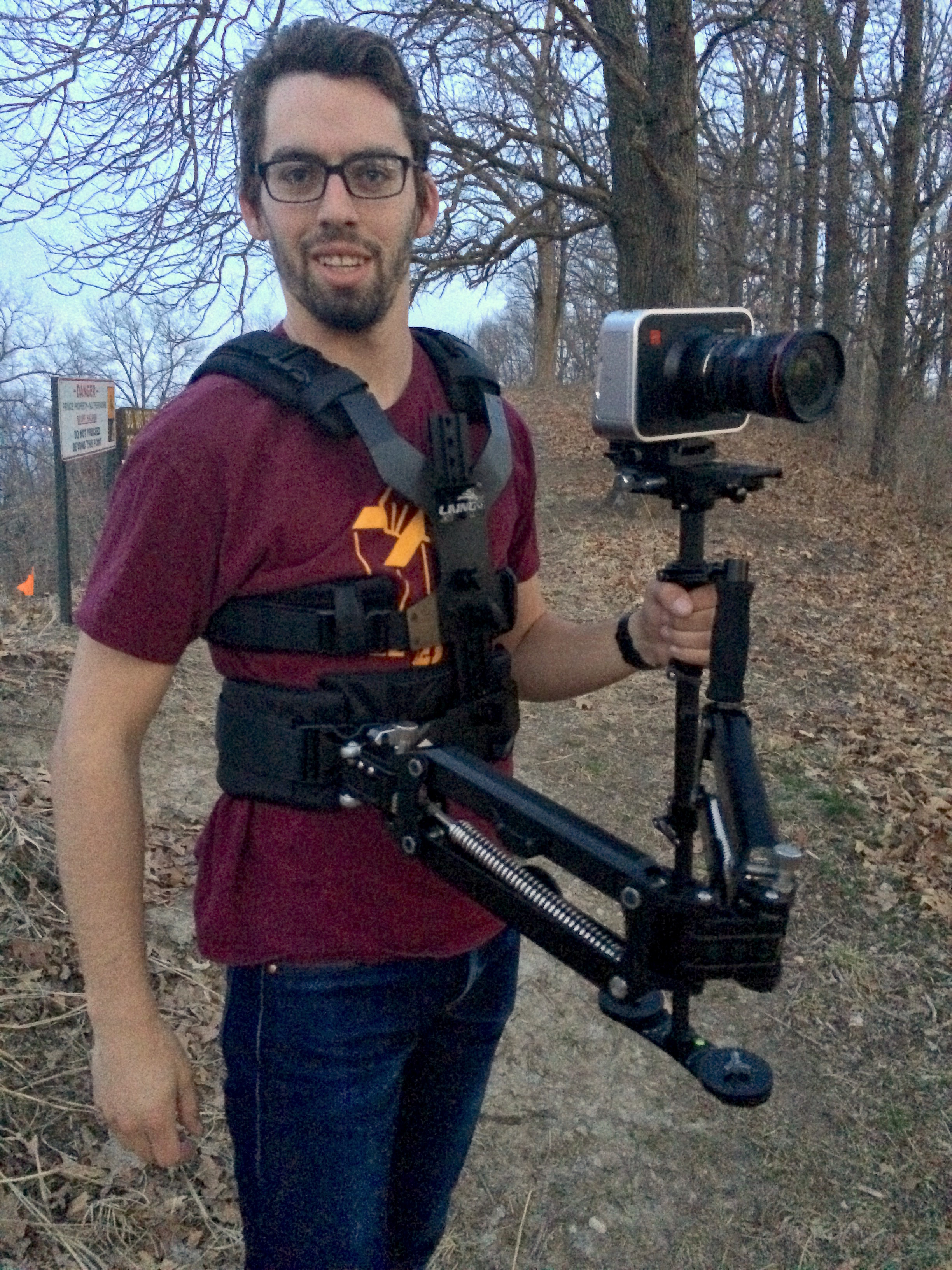 Shot of me with the BMPC and Glidecam while waiting for the light