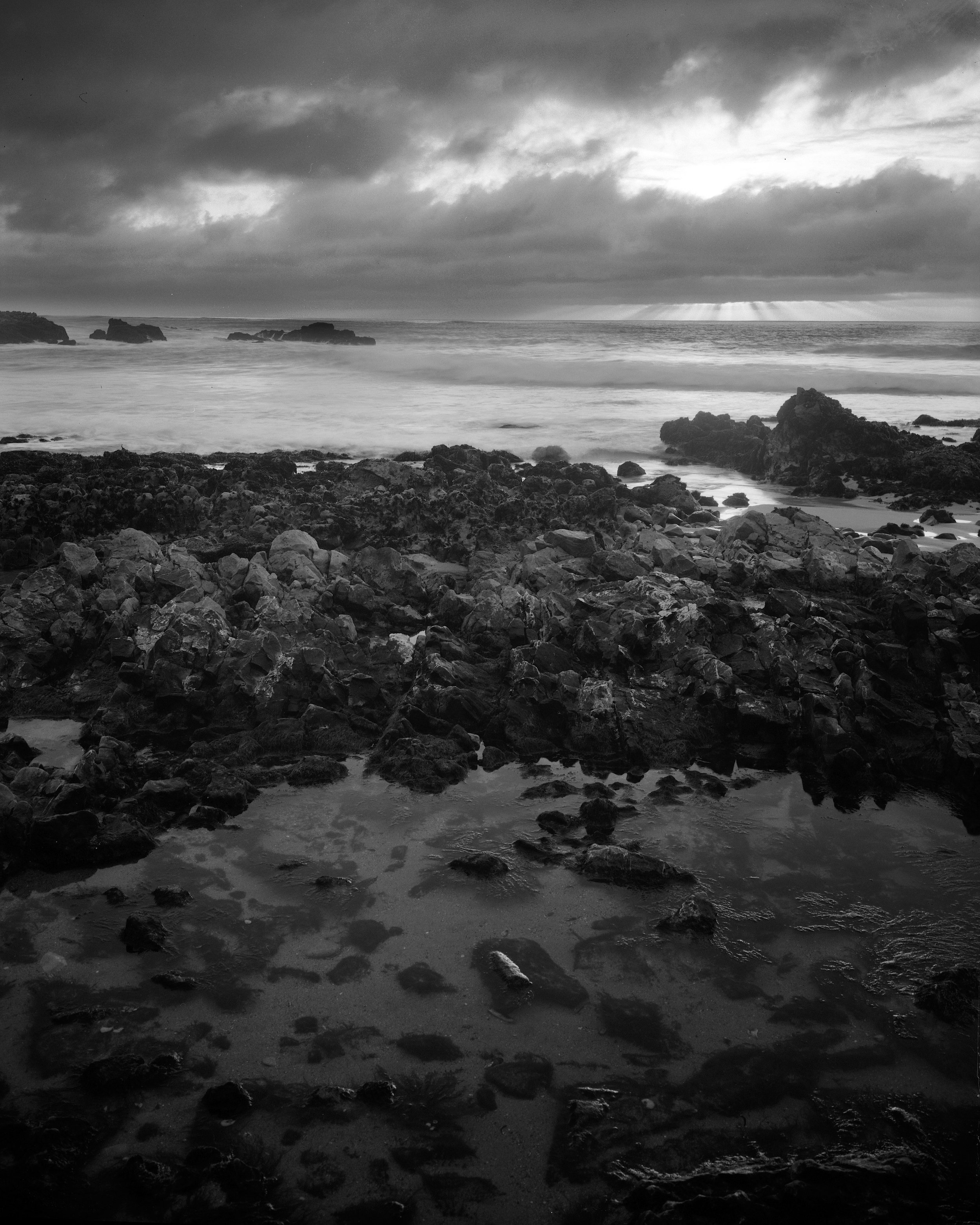 Sunset over Tidepool.Nagaoka 4x5, Fujinon 125mm f/5.6, Ilford FP4+ 125