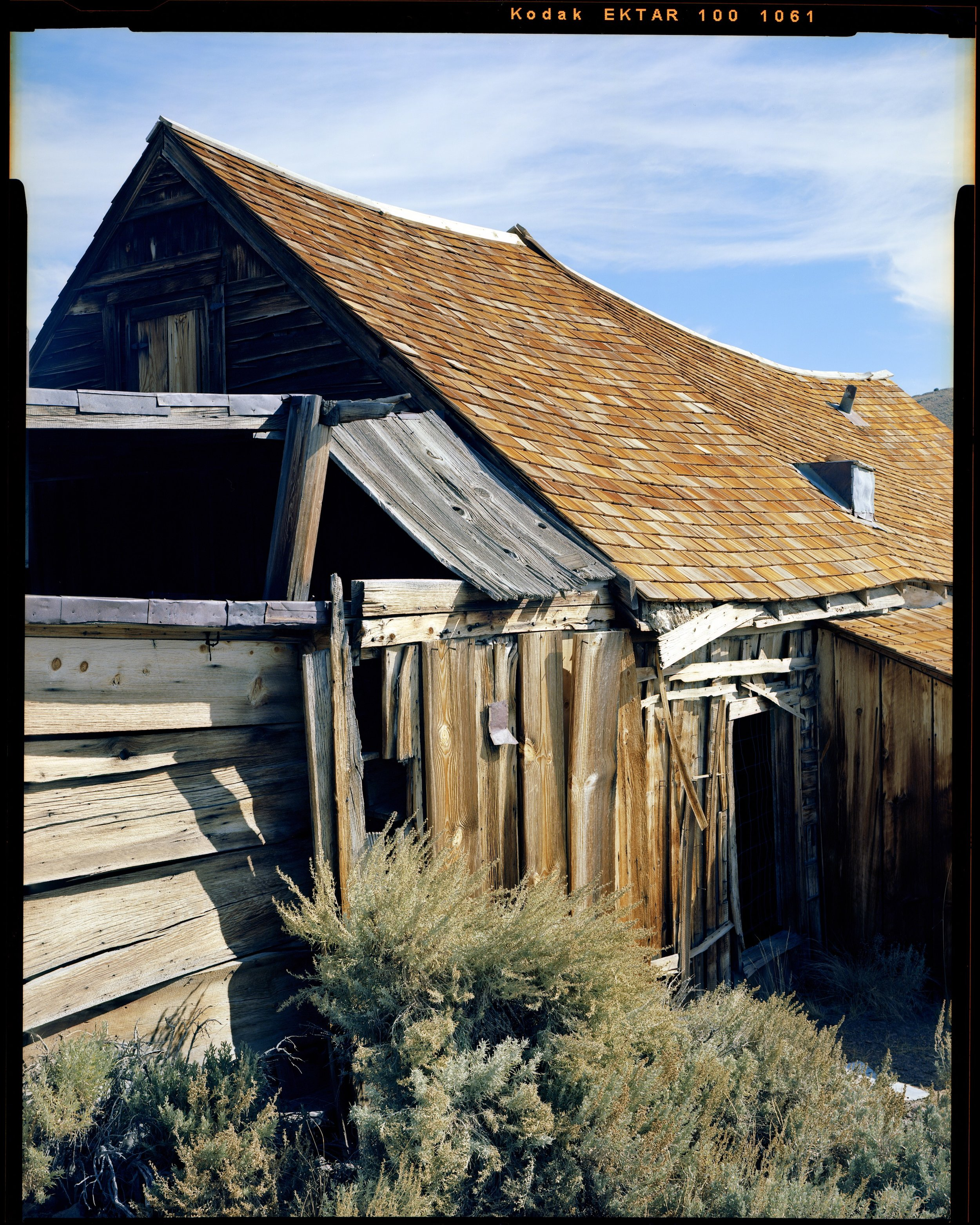 Golden Roof at Bodie, 2017. Nagaoka 4x5 + Fujinon 125mm f/5.6 W. Tack sharp image with near boundless resolution. This was a favorite shot from this trip to the Eastern Sierras and one of five sheets of Ektar 100 I exposed.