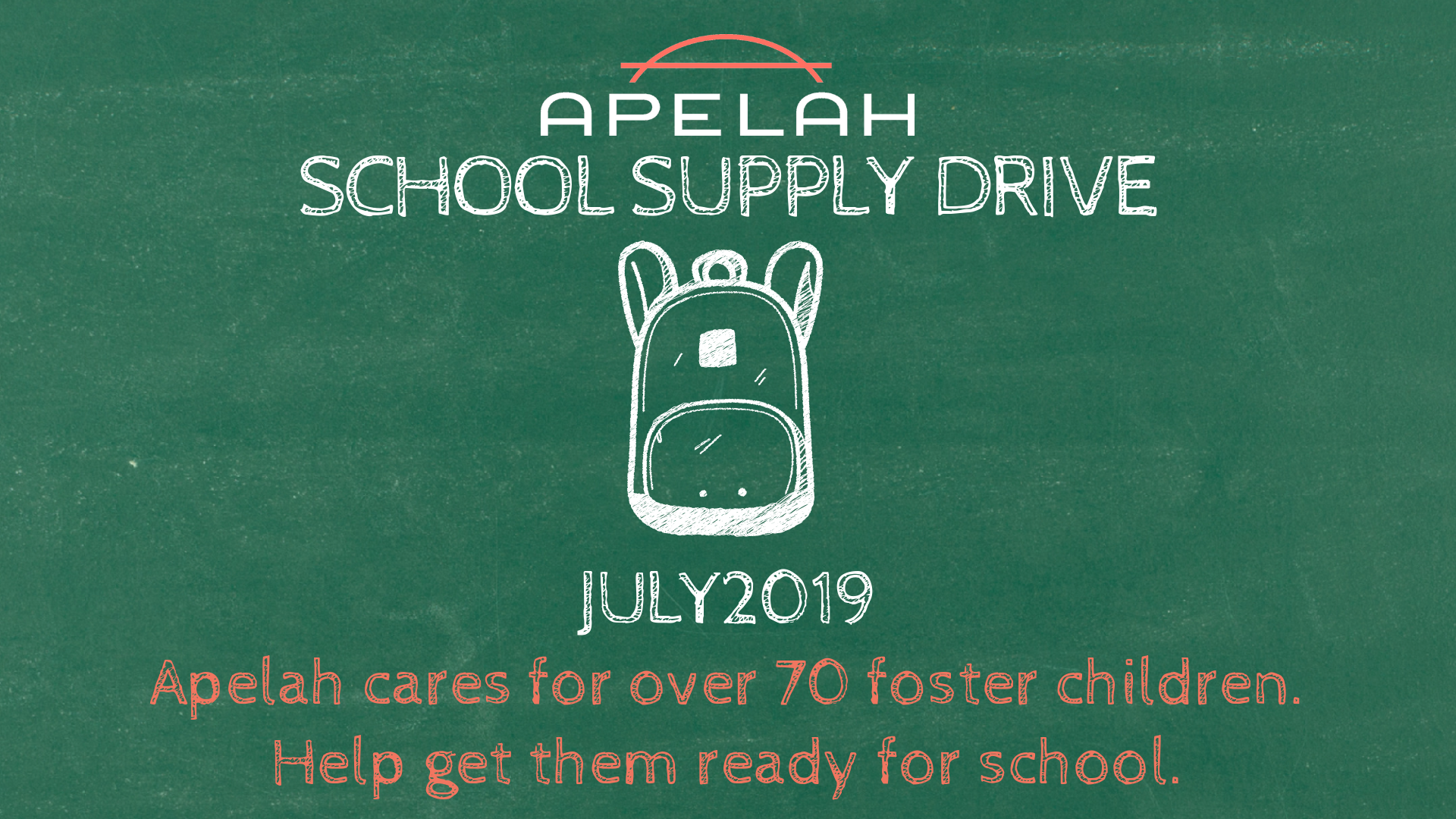 School Supply Drive Flyer Header with picture of a backpack