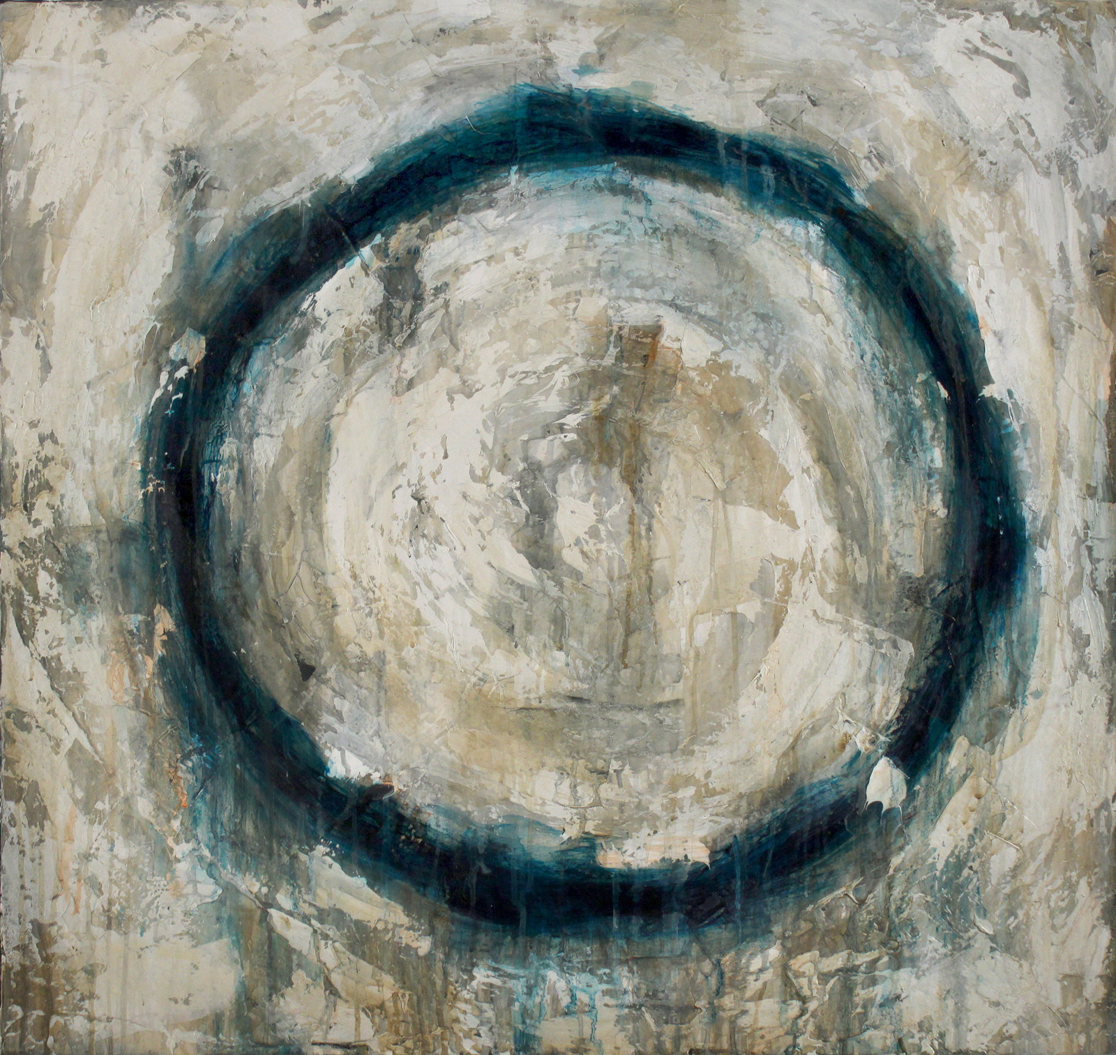 "Dark Turquoise  Oil and Acrylics on Canvas 36""x34"", 2013"