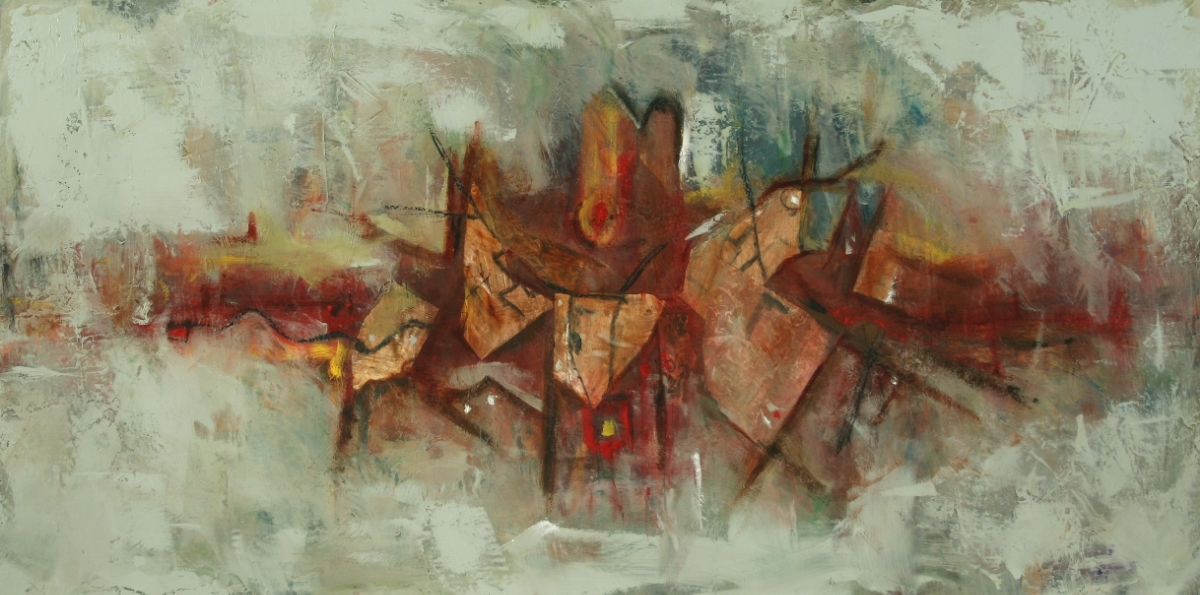"RÊVE 1 Mixed Media on Wood 48""x24"", 2008 Private collection"