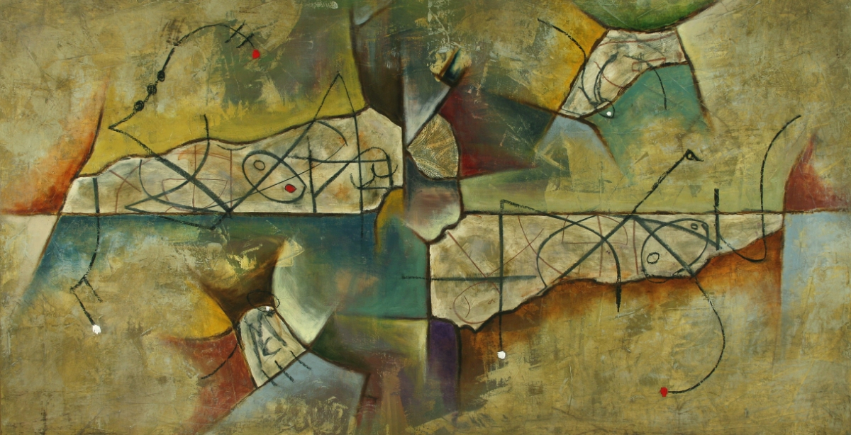 "RÊVE 5 ixed Media on Canvas 52""x28"", 2008 Private collection"