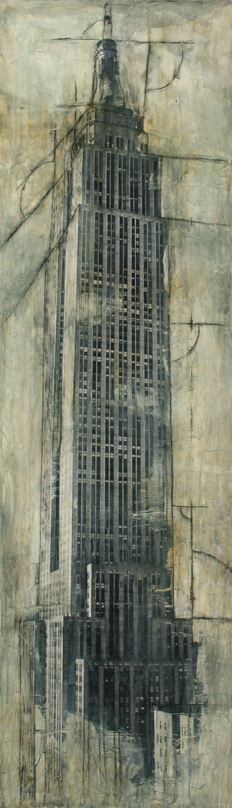 "Empire State Building  Mixed Media on Canvas 18""x62"", 2009 Private Collection"