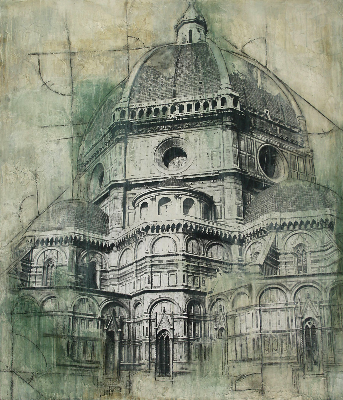 "Duomo Florence  Mixed Media on Canvas 36""x42"", 2009 Private Collection"