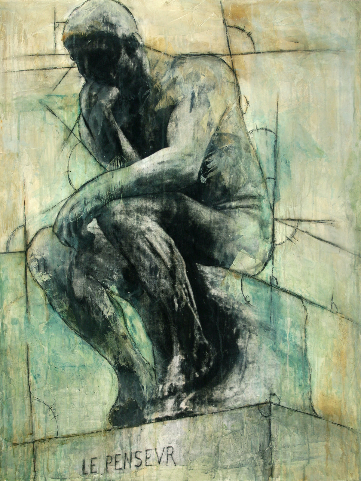 "The Thinker  Mixed Media on Canvas 30""x40"", 2009 Private Collection"