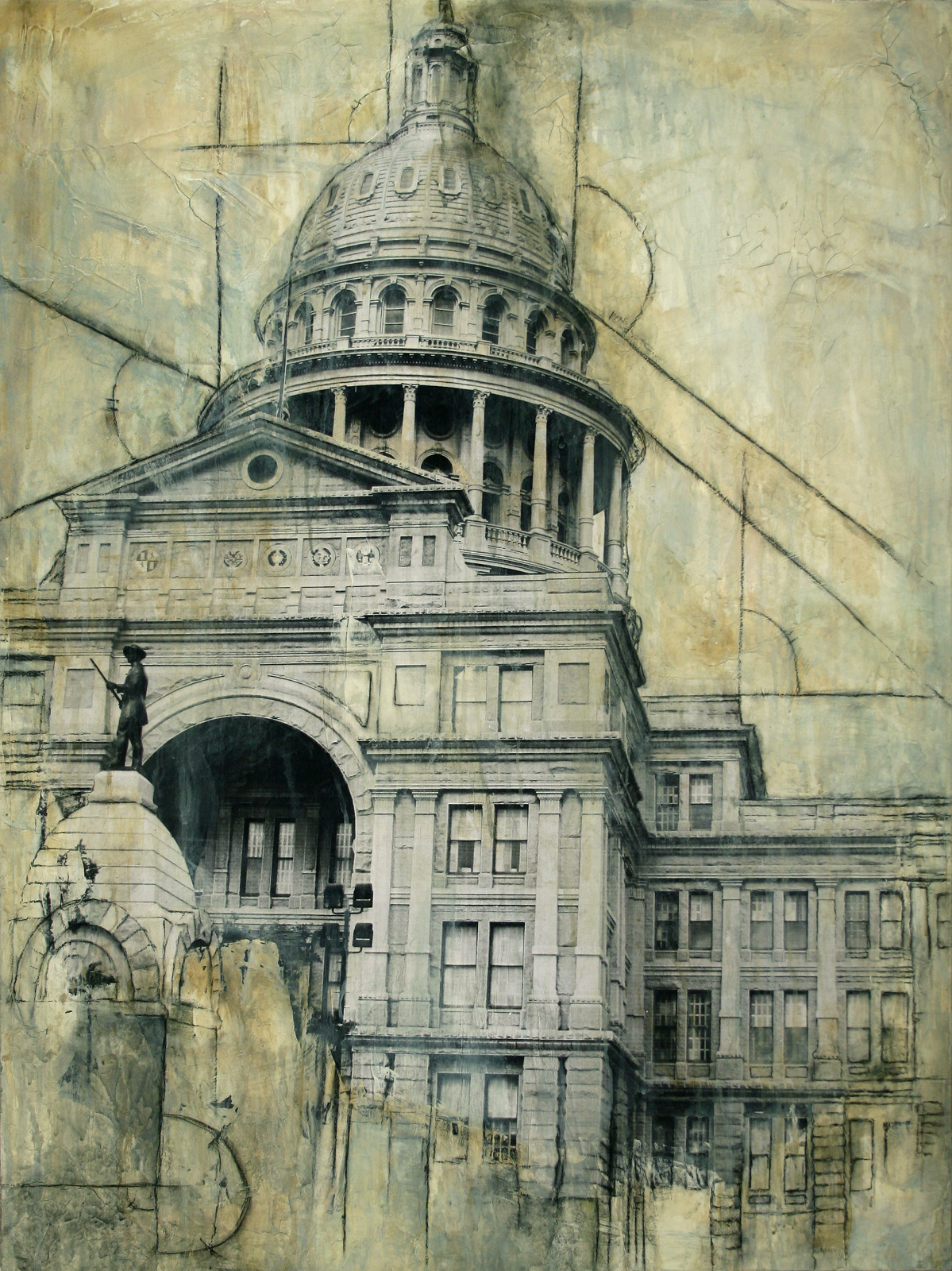 "Texas Capitol  Mixed Media on Canvas 30""x40"", 2009 Private Collection"