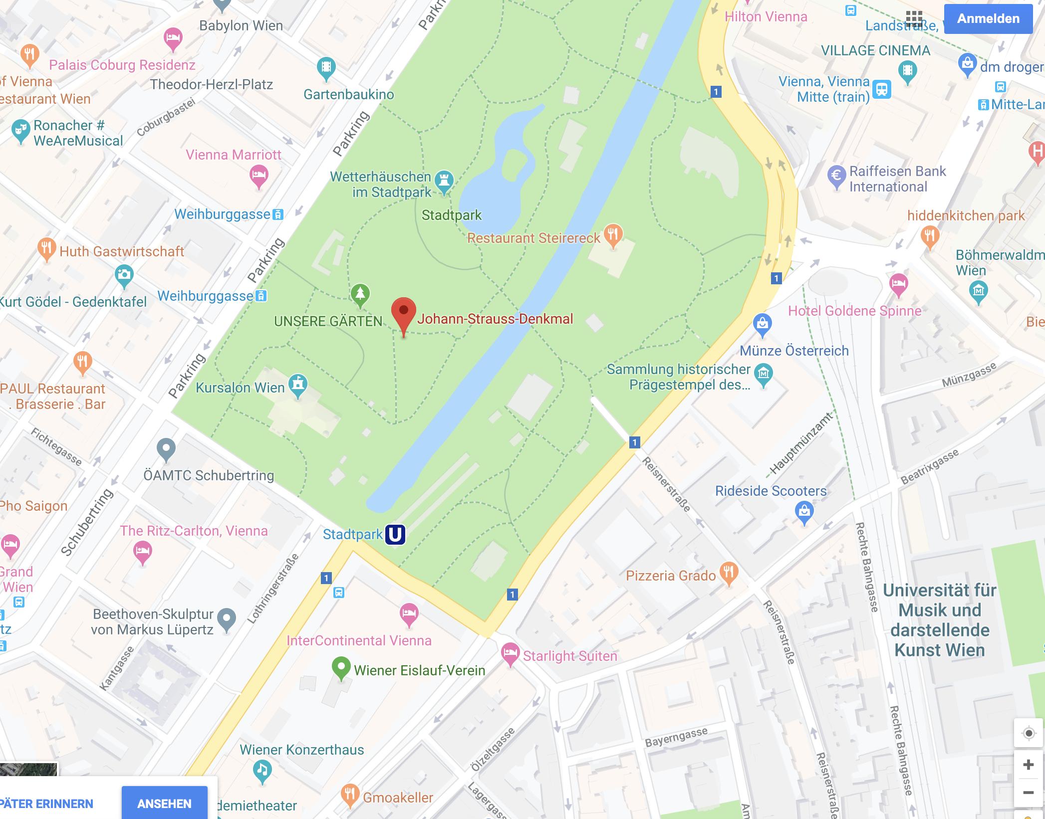 Google Maps - Johann-Strauß-Denkmal
