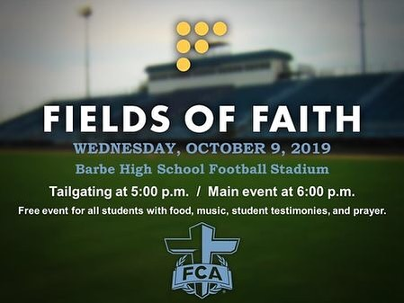 Reminder for COTK parents! There will be no student service at COTK tonight! Instead, students are invited to Fields of Faith at Barbe High School! Drop-off is at 5pm, the main event starts at 6, and pickup is at 7:30! See you guys there!