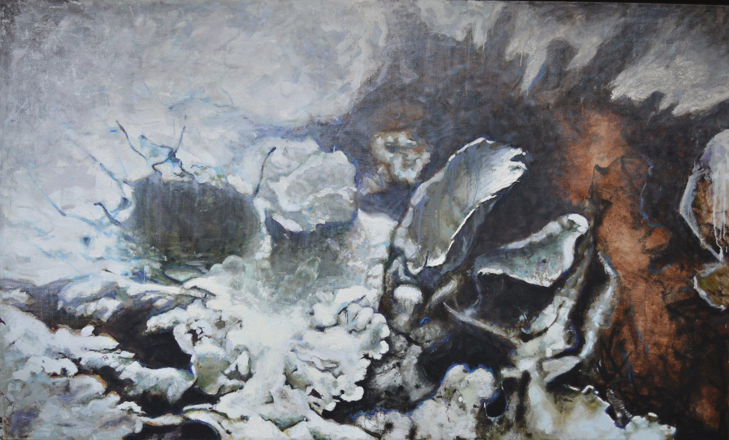 "Lichen V,   72"" x 120"", Oil on hemp"
